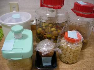 ザワークラウト、ショウガの甘酢漬け、らっきょうの甘酢漬け、梅干し、梅酒、梅酵素ジュース