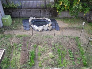 裏庭を2階から撮影した裏庭菜園の写真