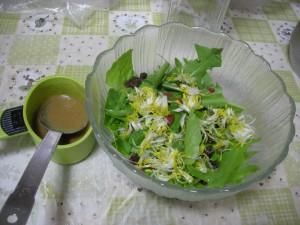 タンポポとサラダ菜のサラダ