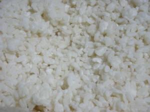 米粒に白い麹菌がまわった完成した麹