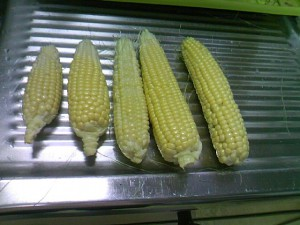 収穫したトウモロコシが5本並べてある